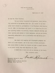Letter to Chief Justice Stacy from President Franklin Roosevelt (September 27, 1938).