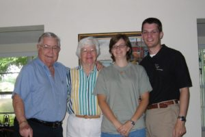 Uncle Hugh Reams, Aunt Louise Reams, my wife Heather, and me in 2007, just before they became the first family members to hear we were expecting our first child.