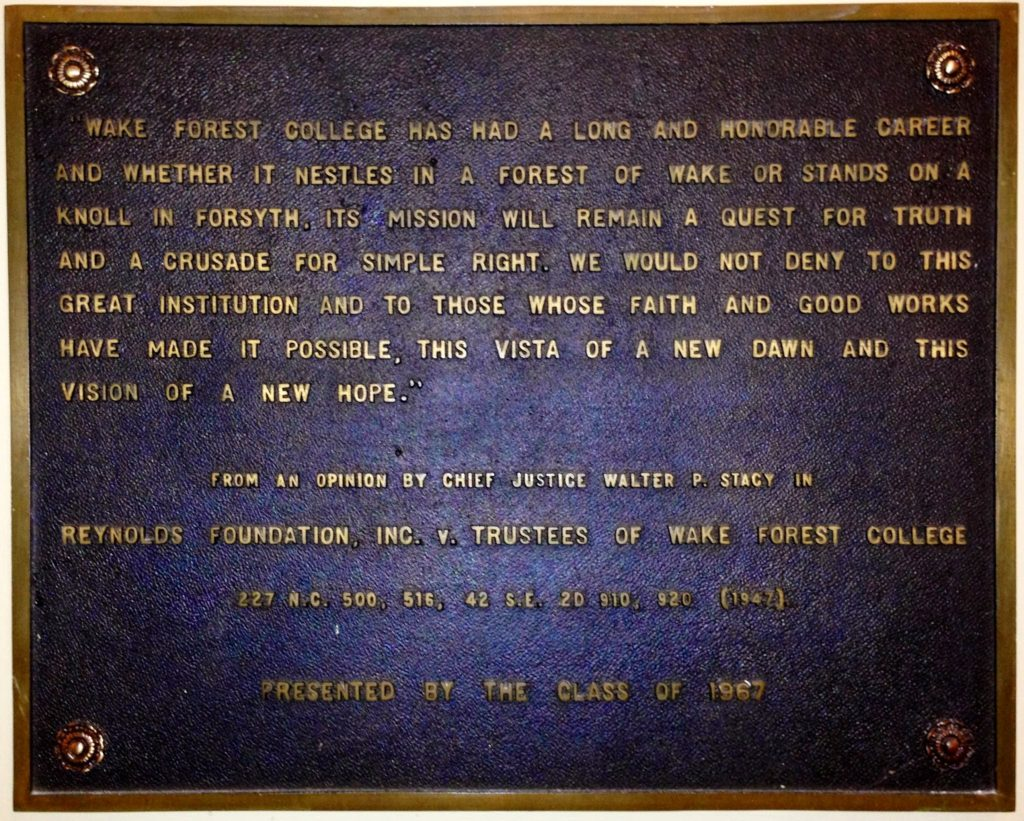 Plaque from the east entrance to Wake Forest's Law School.